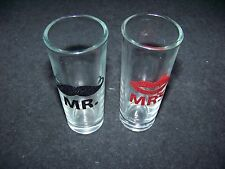Mustache Mr. & Lips Mrs. shotglass shooter shot glass set of 2