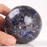 636g 70mm Large Natural Blue Sodalite Quartz Crystal Sphere Healing Ball Chakra