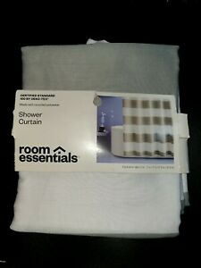 """NEW Room Essentials Gray & White Rugby Stripe Fabric Shower Curtain 72"""" x 72"""""""
