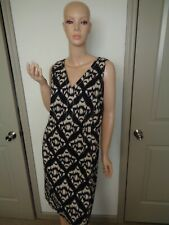 TALBOTS NAVY & BEIGE PRINT SLEEVELESS CASUAL DRESS SIZE: 10