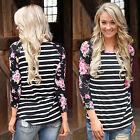 Femme T-shirt manches longues col rond décontracté en vrac haut chemisier