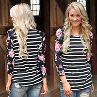 Plus Size Women Loose Floral Long Sleeve Blouse Casual Top Ladies O Neck T Shirt