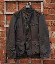 BNWT Autentico BARBOUR Beacon COMANDANTE Cera Sport Jacket (grande: EU52-54) Verde Oliva