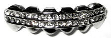 Hip Hop Gun Metal Mouth Teeth Grills Grillz - Iced Out 2 Row Bottom Lower