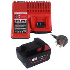 For Milwaukee 5.0AH 18V  M18 48-11-1828 Red Lithium Ion XC 5.0 Battery+Charger