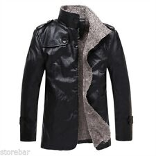 Mens Winter Warm Fur Fleece Leather Jacket Trench Coat Parka Outwear Overcoat
