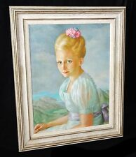 1938 Hawaii Oil Painting Landscape & Portrait Young Girl by Lloyd Sexton (Geo)