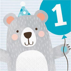 16 x Teddy Bear 1st Birthday Party Blue Napkins Baby Boy baby Age 1 Tableware