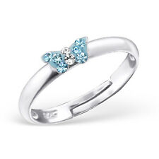 Childrens Girls 925 Sterling Silver Aqua Crystal Butterfly Ring Adjustable Boxed