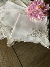 Vintage White Linen Napkins With Taupe Floral Embroidery Set Of 8 🌺