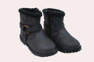 girls black childrens waterproof flat winter school snow boot. zip fastening