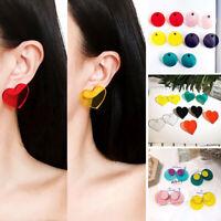 Women Acrylic Punk Rock Geometric Earring Transparent Big Round Circle Earrings