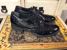 Piampiani Women's Shoes dress lace up patent  Leather Blue Sz 38- US-7  Italy