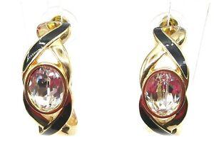 SAL Swarovski Goldtone Clear Crystal Black Enamel Chunky C Hoop Post Earrings