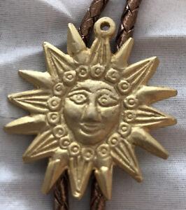 VINTAGE Gold Bolo Tie SUN FACE Bronze Braided Lariet RUSTIC BOHO RODEO COWBOY