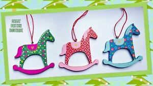 Set of 3 Pretty Folksy Rocking Horse Hanging Decorations - Sass & Belle