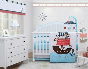 OptimaBaby 7PCS My Little Pirates Blue Baby Bedding Sets  with Musical Mobile