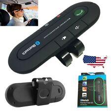 Wireless Multipoint Bluetooth Hands Car Kit Speakerphone Speaker Visor Clip US