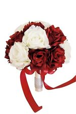 "9"" Wedding Bouquet - Apple Red and Ivory Artificial Rose Bouquet"