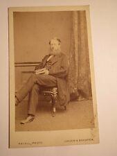 London & Brighton-Seated Man with Beard & Book in Hand-CDV/England
