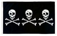 5/' x 3/' Iron Cross with Three Skulls Flag Black Skull Face Banner