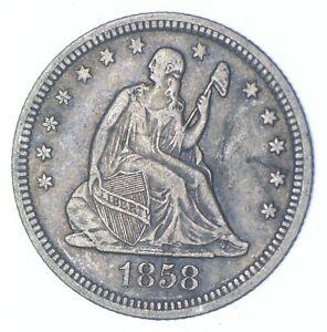 Better - 1858 Seated Liberty Quarter - TC *977