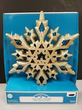 Christmas Led Warm White Lighted Gold Snowflake Glitter Tree Top Topper Nip