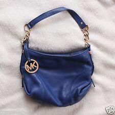 Michael Kors Combo Jet Set Cobalt Blue Pebbled Leather Small Shoulder Bag Wallet
