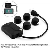 USB Car TPMS Tire Pressure Monitoring System External Sensors for Android New
