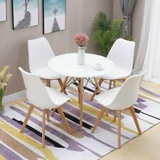 Round Dining Table White And 4 Padded Tulip Chairs Wooden Kitchen Dining Set
