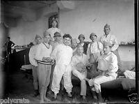 Portrait militaires chambre caserne humour banjo - négatif photo verre plaque