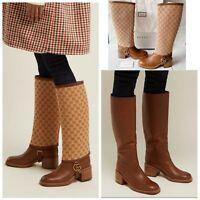 Gucci Lola Beige Monogram Canvas GG Logo Gaiter Riding Heel Knee High Boot US 37