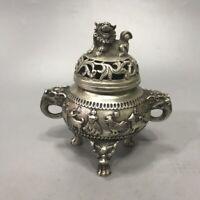 fengshui palace Silver copper 12 zodiac Statue tow Ear dragon Incense Burner pot