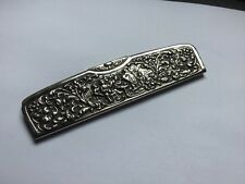 Ornate SIlver Plated Holland Repousse Figural Scenic Hair Comb & Case