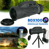 BAK4 80X100 Zoom HD Lens Prism Hiking Monocular Telescope with Tripod Phone Clip