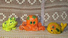Banks Lot of 3 Vintage 1960's Composite Hippie-Flower-Power Frog Octopus & Whale
