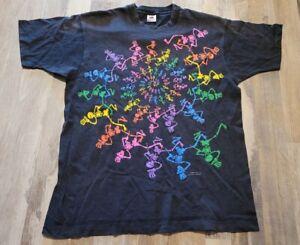 Vintage Grateful Dead Rainbow Spiral Skeletons Black 1990 Concert T Shirt XL