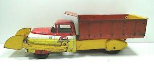 Vintage Marx Lumar Contractors Loader Scooper Dump Truck Pressed Steel Red Yello