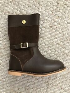 Janie and Jack Toddler Girls Size 7 Brown Leather Riding Boots NEW