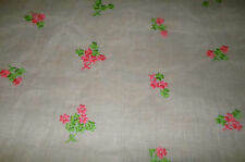 Vintage Shabby Lightweight Semi Sheer Embroidered Cotton Fabric ~pink green