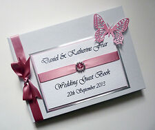 PERSONALISED WEDDING GUEST BOOK WITH BUTTERFLY - ANY COLOUR