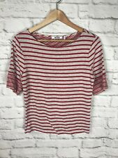 Three Dots Womens Gray Red Striped Short Sleeve Top Shirt Size Large