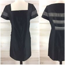 Courreges Paris sheer black nude shift tunic dress LBD classic chic M FR 40