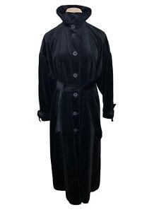 Vintage Laura Ashley Corduroy Black Cotton Modal Long Riding Over Coat Victorian