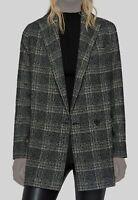 $838 AllSaints Women's Black Lucia Oversized Plaid Jacket Blazer Coat Size US 2