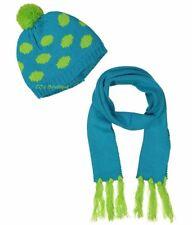 Girls lime green aqua pom sweater hat scarf NWT fringe dots 5 6 7 8 9 10 12