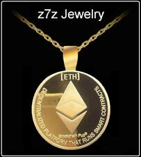 ETHEREUM GOLD Necklace - coin medallion pendant cryptocurrency jewelry z7z