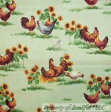 BonEful Fabric Cotton Quilt Green Grass Red Rooster Yellow Sunflower LAST SCRAP