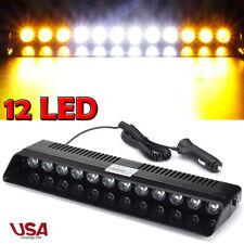 12 LED Amber White Emergency Strobe Light Auto Windshield Flashing Warning Lamp