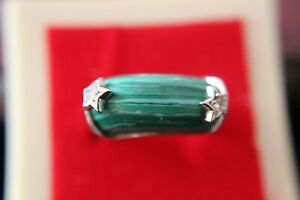 Malachite 925 hallmarked sterling  Silver Ring size 8